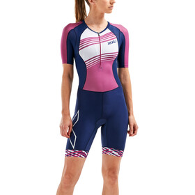 2XU Compression Trialtlondragt Damer, navy/very berry white lines